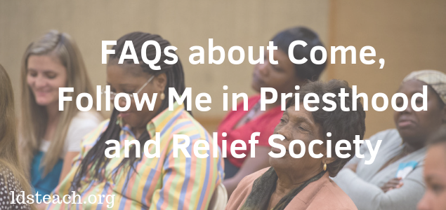 women in Relief Society Meeting - title FAQs about Come Follow Me in Priesthood and Relief Society