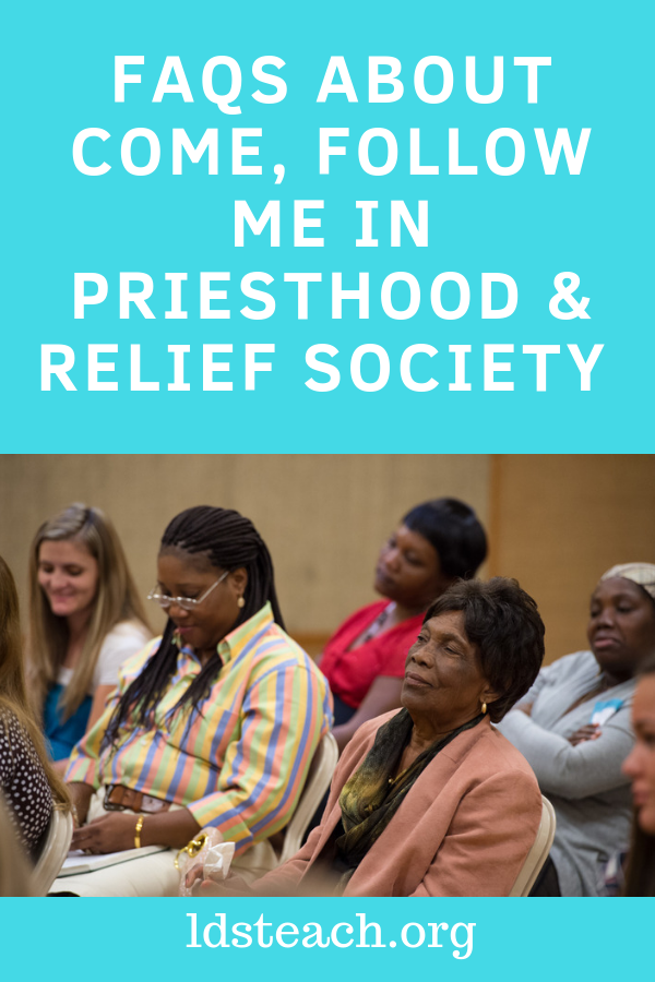 women in Relief Society Class- title FAQs about Come Follow Me in Priesthood and Relief Society